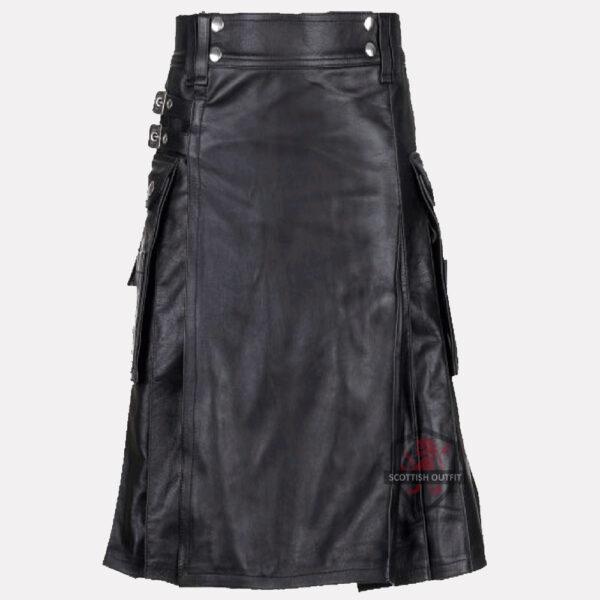 Black Leather Kilt