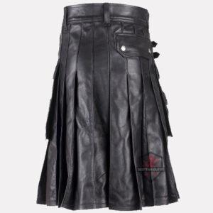 Black Leather Kilt back