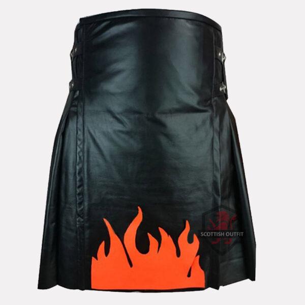 Fire Flame Leather Kilt