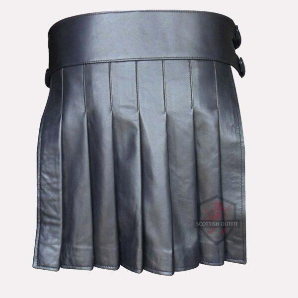 Mini Studded Leather Kilt back