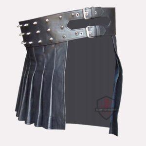 Mini Studded Leather Kilt side
